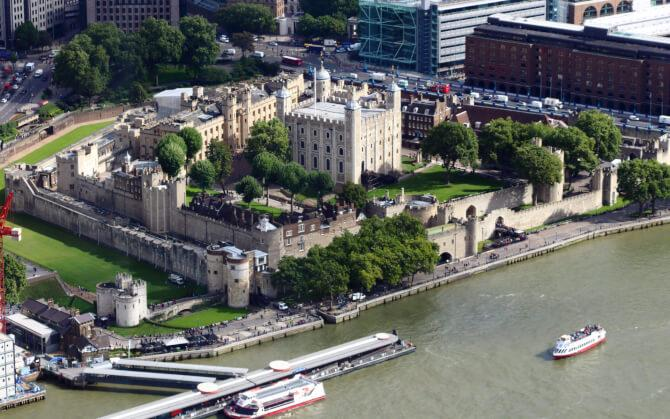 Top 20 things to do in London: Aerial view of the Tower of London