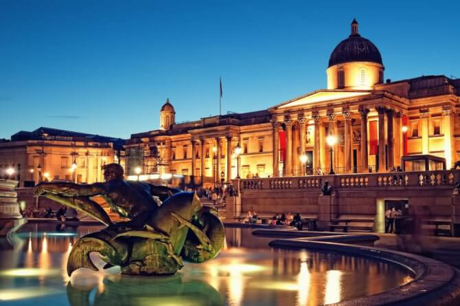 Top 20 things to do in London: The National Gallery at dusk as seen from Trafalgar Square