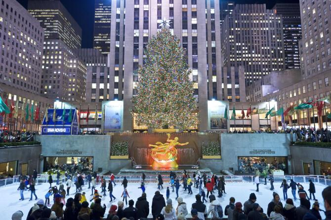 Top 20 things to do in New York: The Christmas decorations and an icerink are established during witner at the Rockefeller Center