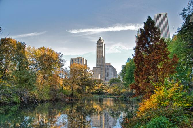 Top 20 things to do in New York: The Central Park with skyscrapers in the background