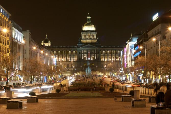Top 20 things to do in Prague: Wenceslas Square at night, with the main building of the National Museum visible in the background