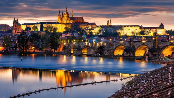 Top 20 things to do in Prague: The Prague Castle at dusk as seen from the River Vltava