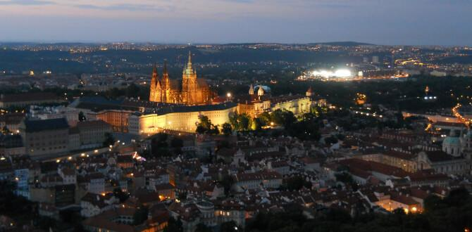 Top 20 things to do in Prague: View from the Petřín Lookout Tower at night