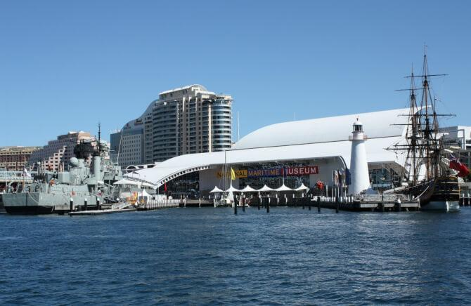 Top 20 things to do in Sydney: The Australian National Maritime Museum, with two of the museum ships infront of it