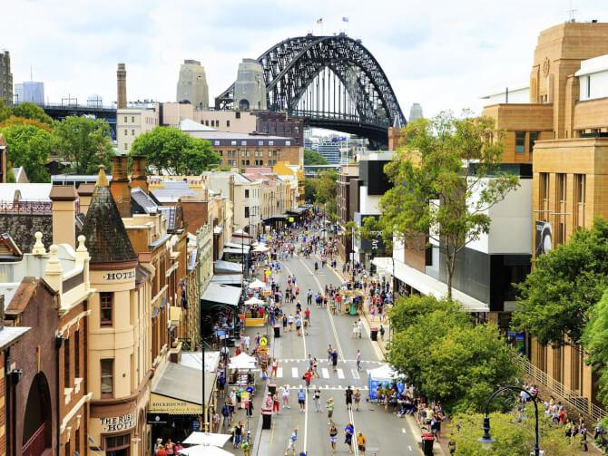 Top 20 things to do in Sydney: A busy street in the Rocks