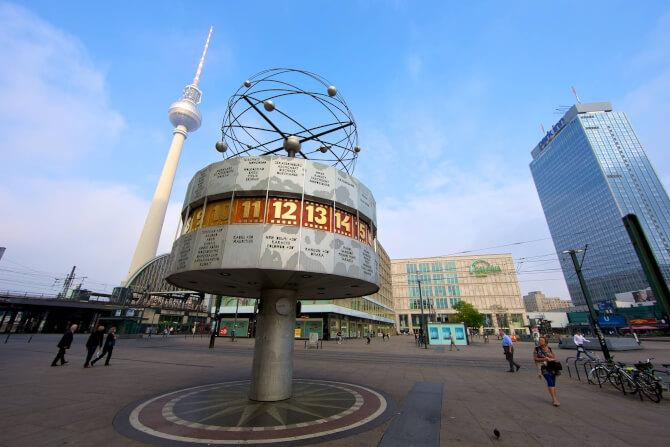 Top 20 things to do in Berlin: The World Clock at the Alexanderplatz with the Fernsehturm in the background
