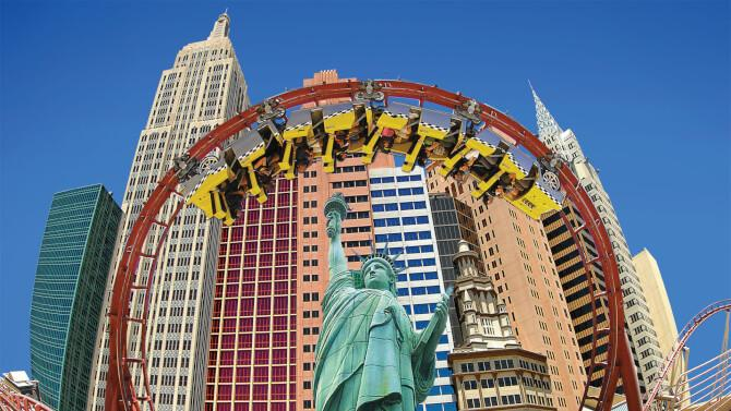 Top 20 things to do in Las Vegas: The Roller Coaster going above the replica of the Statue of Liberty