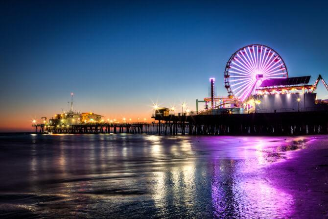 Top 20 things to do in Los Angeles: The Santa Monica Pier and Beach at night