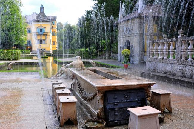Top 20 things to do in Salzburg: The stone seats from which water sprays in the Hellbrunn Palace Gardens