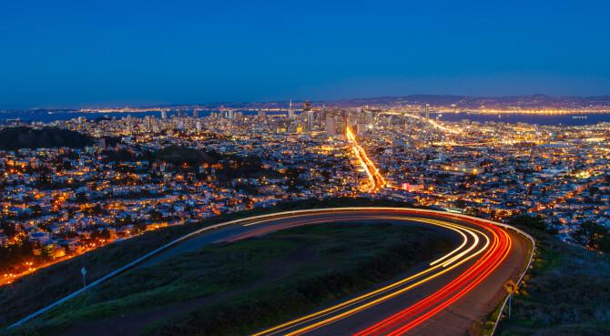 Top 20 things to do in San Francisco: View from the Twin Peaks at night