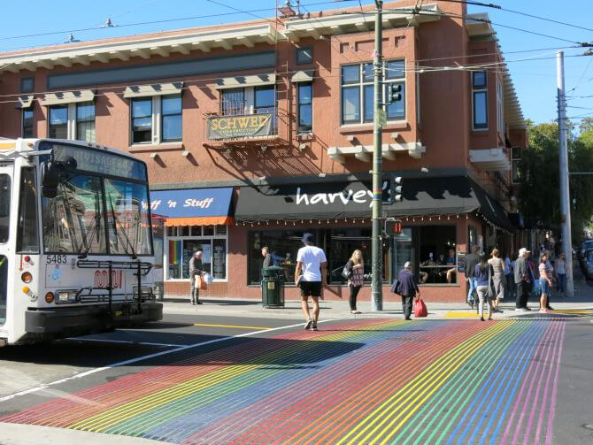 Top 20 things to do in San Francisco: A rainbow-colored pedestrian crossing at the Castro District
