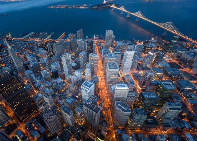 Top 20 things to do in San Francisco: Aerial view of the Financial District at night
