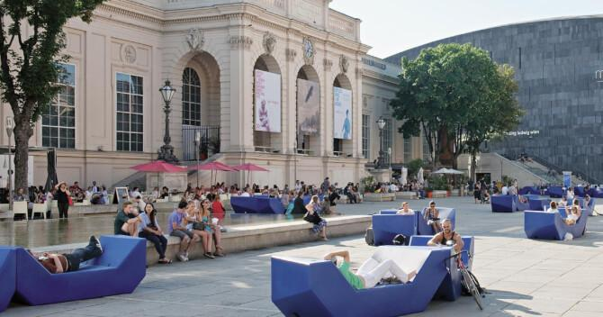 Top 20 things to do in Vienna: A square at the Museumsquartier with museums in the background